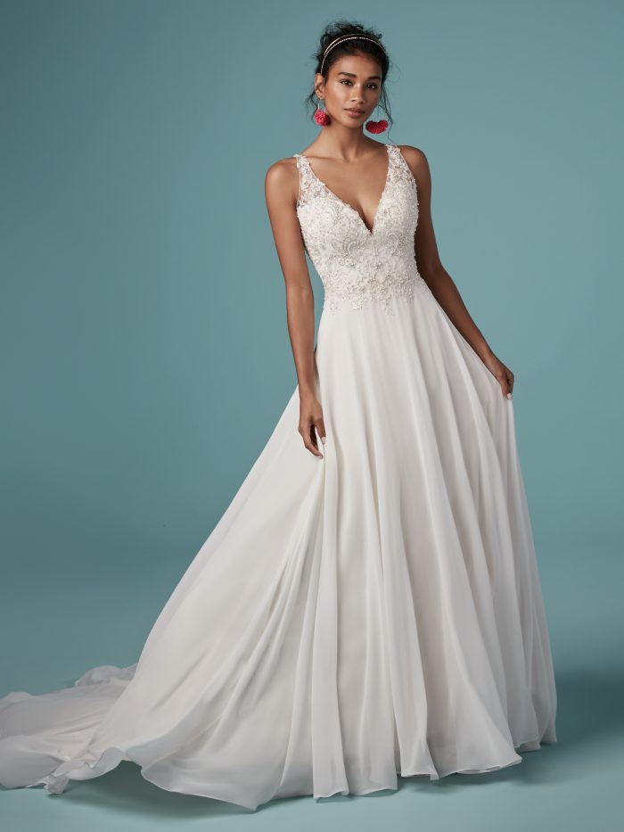 Melody Beaded Sheath Wedding Dress by Maggie Sottero