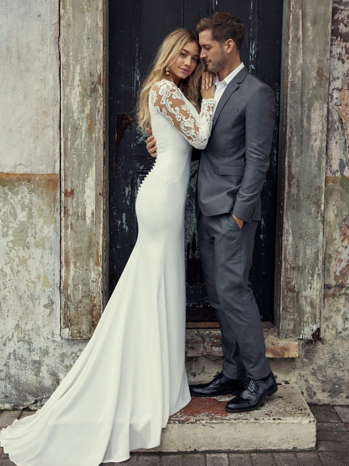 Bethany Simple Lace Wedding Dress by Rebecca Ingram