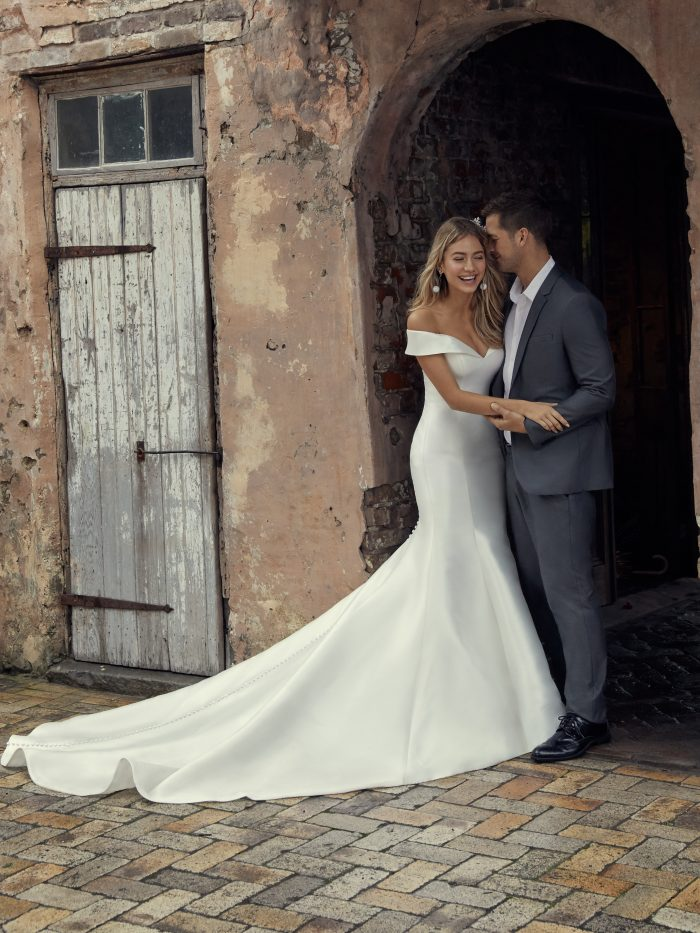 Josie Simple Fit-and-Flare Wedding Dress by Rebecca Ingram