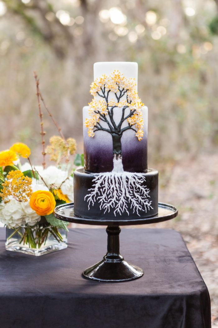 Unique Halloween Black and White Three Tier Wedding Cake with Dead Tree