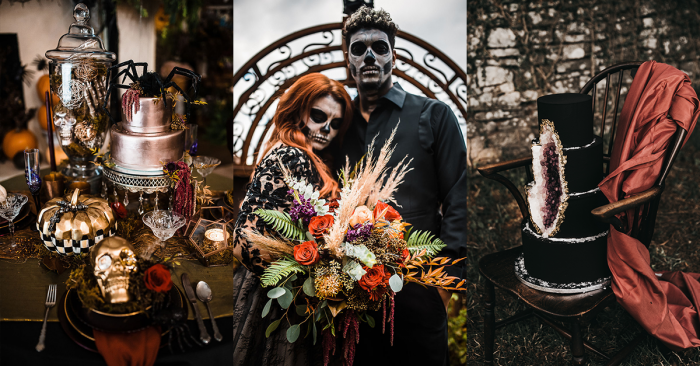 Banner of Halloween Wedding Cakes and a Bride and Groom Wearing Dramatic Halloween Makeup