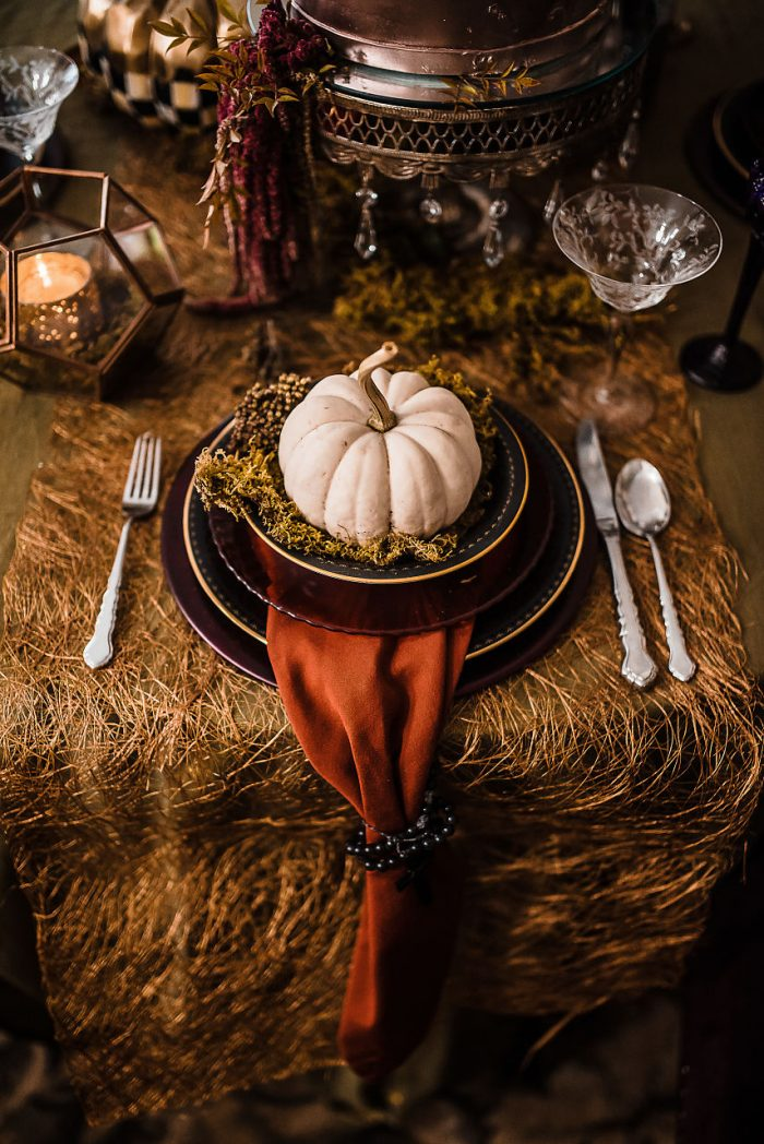 Pumpkin on a Plate Halloween Table Setting