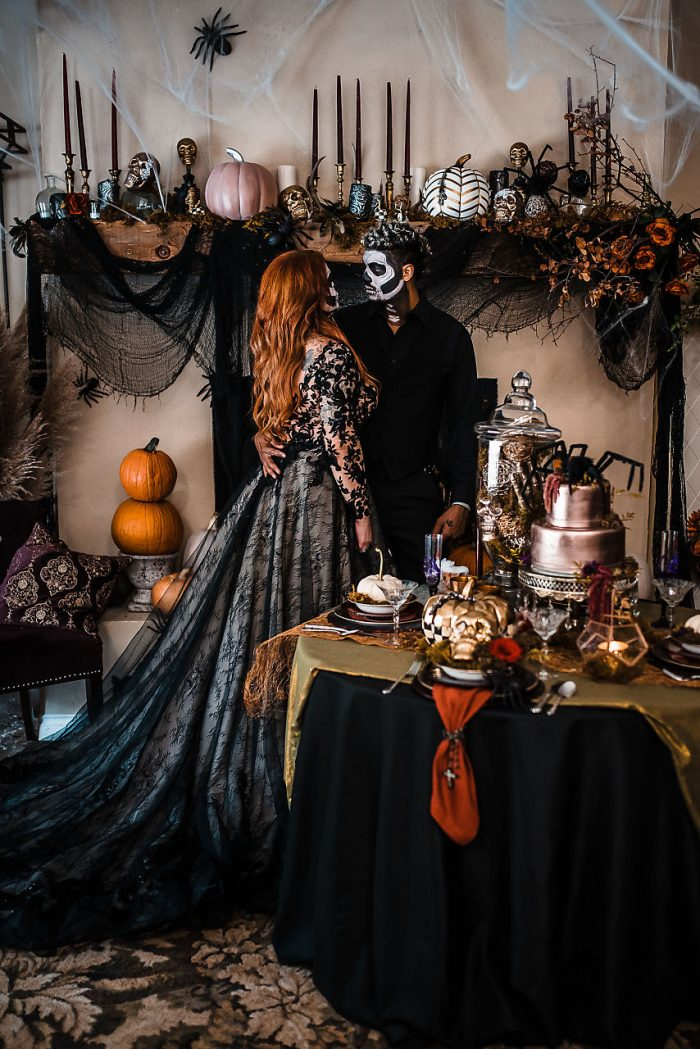 Bride and Groom with Halloween Wedding Decor Ideas