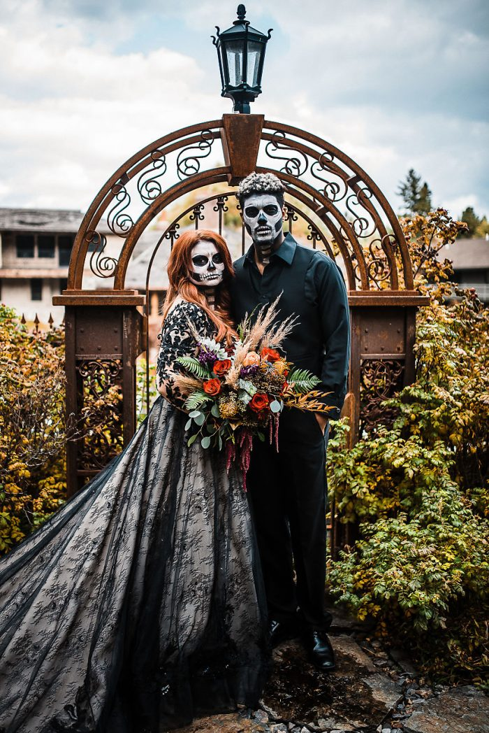 Real Bride Wearing Black Wedding Dress with Groom Wearing Black Wedding Attire