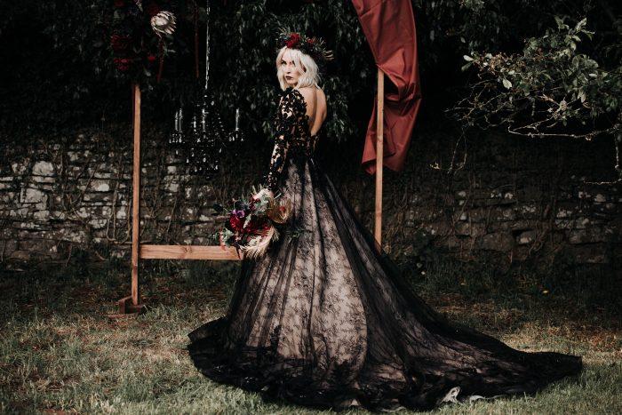 Bride in a Halloween Wedding wearing Zander Black wedding dress by Sottero and Midgley