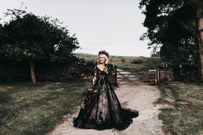 Bride wearing Zander Black Wedding Dress by Sottero and Midgley
