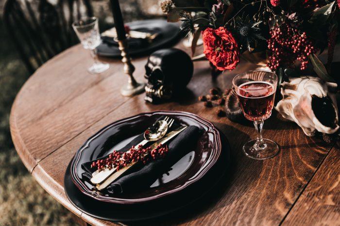 Black Table Setting for a Halloween Wedding