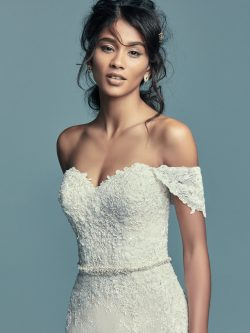 Model Wearing Boho Wedding Gown Called Tenille by Maggie Sottero