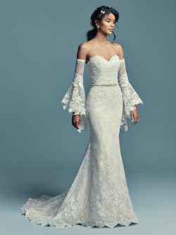 Model Wearing Boho Wedding Gown Called Tenille by Maggie Sottero with Poet Sleeves