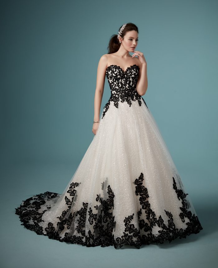 Tristyn Black Lace Ballgown Wedding Dress by Maggie Sottero