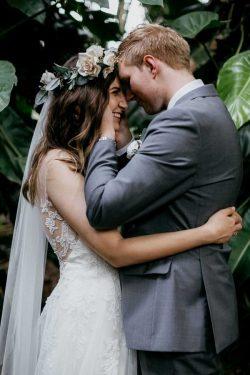 Groom with Real Bride Wearing Flower Crown
