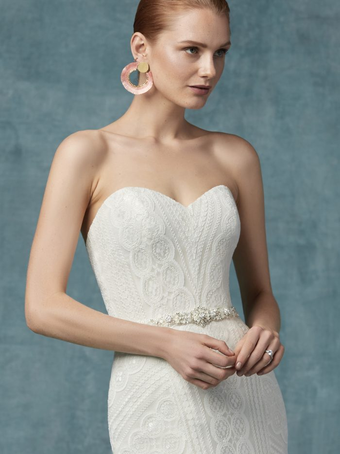 Geraldine lace fit-and-flare wedding dress by Maggie Sottero