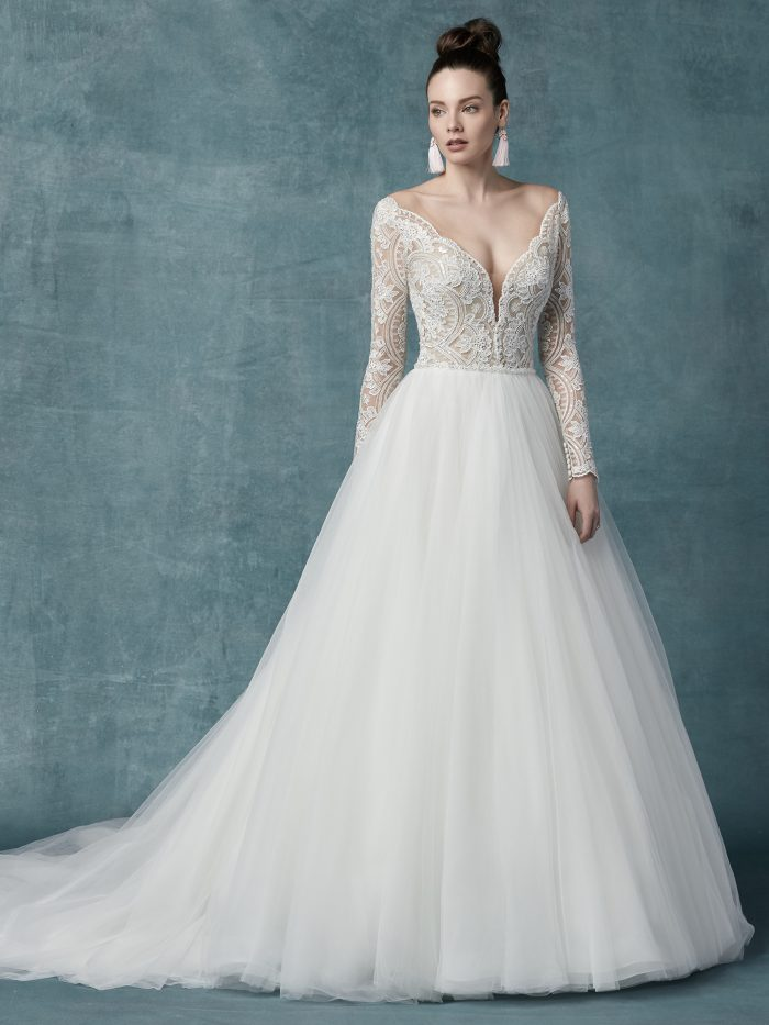 Mallory Dawn tulle ballgown lace wedding dress by Maggie Sottero