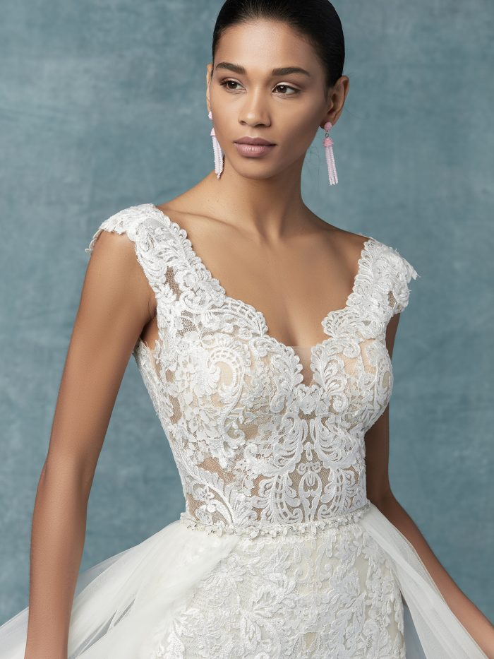 Milan tulle jumpsuit lace wedding dress by Maggie Sottero