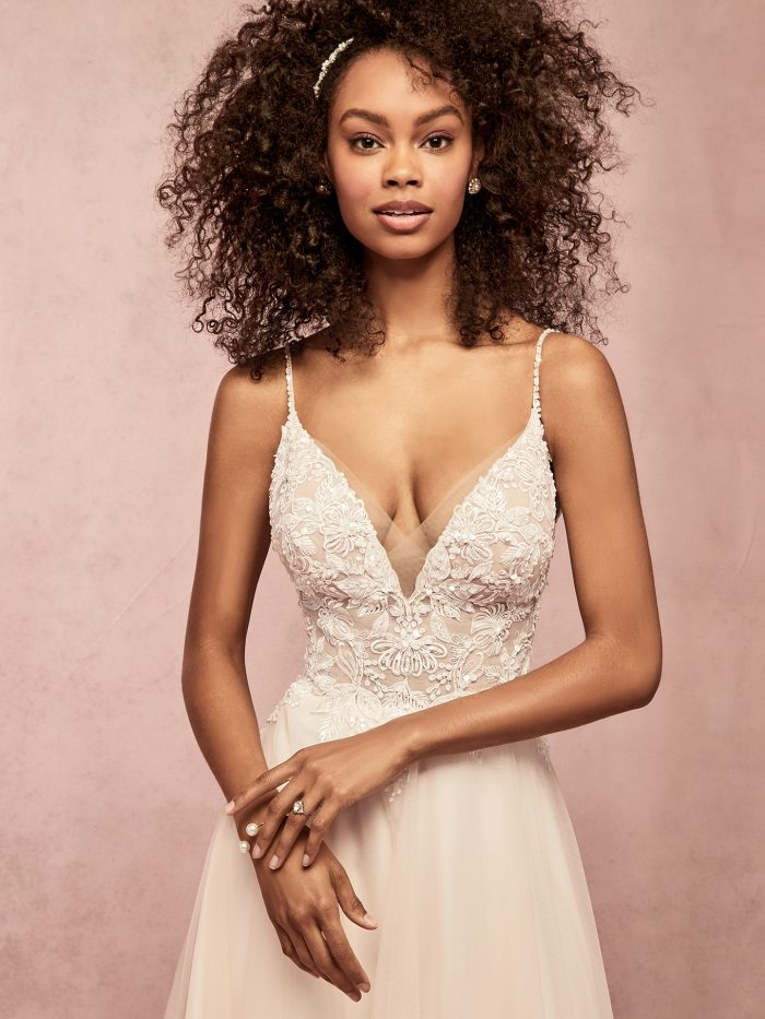 Eunic tulle a-line lace wedding dress by Rebecca Ingram