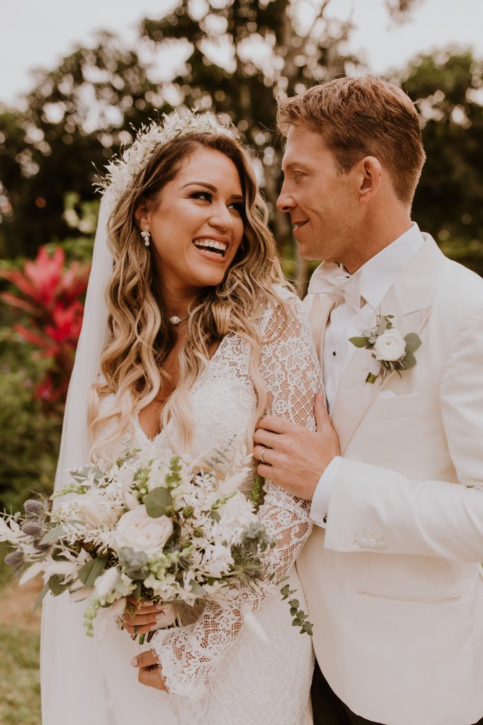 Real Bride Wearing Boho Sheath Wedding Dress