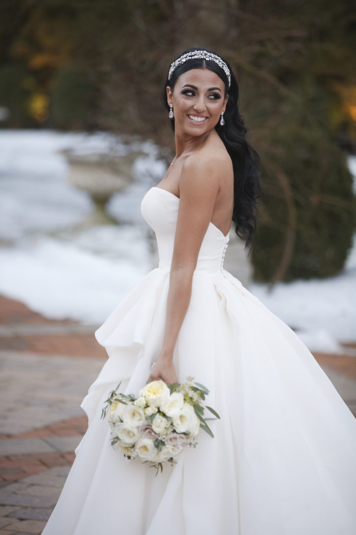 Real Bride Wearing Organza Ball Gown Called Bianca Marie by Maggie Sottero
