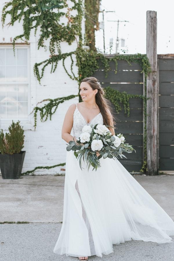Beach Bride Holding Wedding Bouquet
