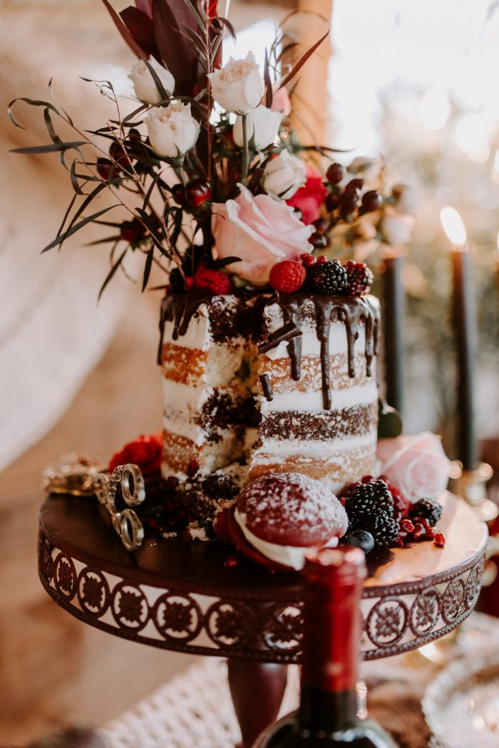 Red and Pink Chocolate Naked Wedding Cake