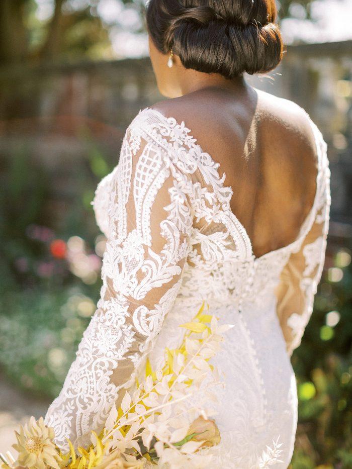 Back of Long Sleeve Boho Wedding Dress Called Cheyenne by Maggie Sottero
