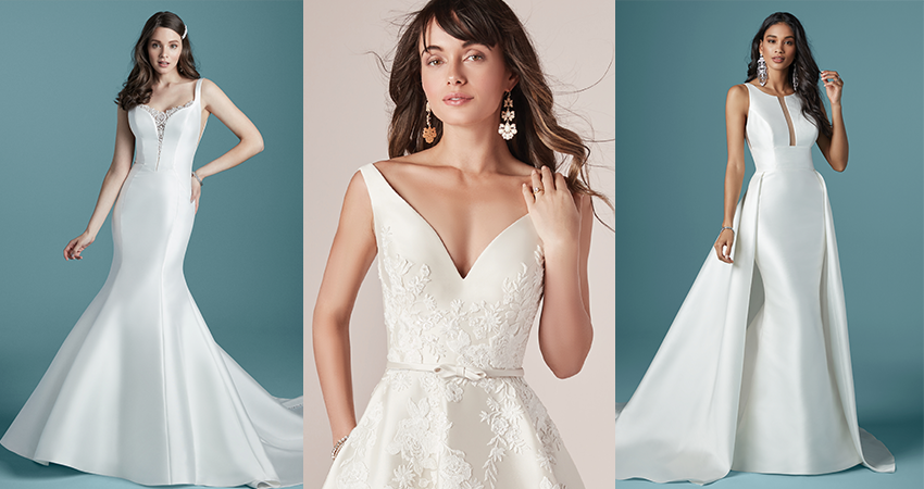 Collage of Models Wearing Simple Satin Wedding Dresses by Maggie Sottero