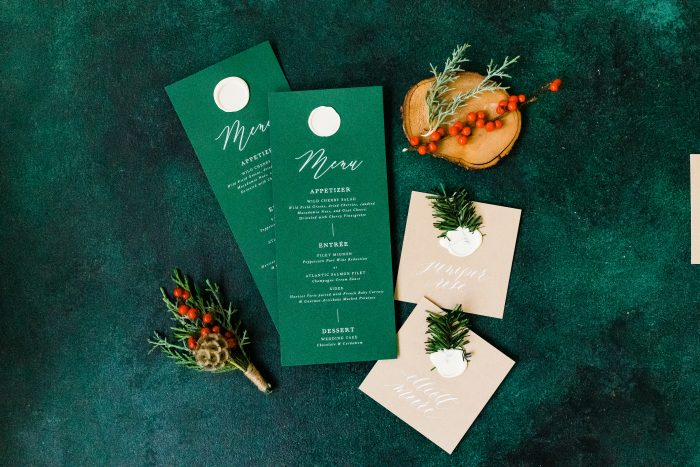 Deep Emerald Green Menu Cards for Holiday Wedding Theme