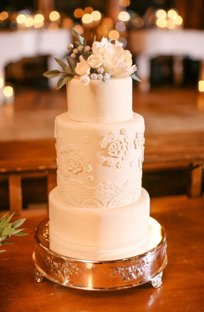 Seasonal Wedding Cake White with Embellishments