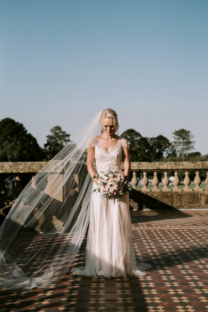 Real Bride Wearing Vintage Satin Wedding Gown Called Ettia by Maggie Sottero