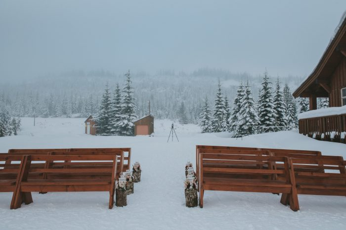 Outdoor Winter Wedding Venue with Wood Benches