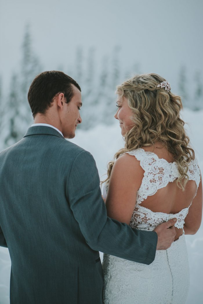 Groom with Real Bride at Winter Wedding Wearing Lace Wedding Dress Called Hope by Rebecca Ingram