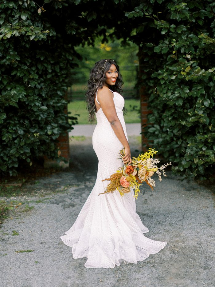 Bride Wearing Boho Wedding Gown Called Lilana by Maggie Sottero
