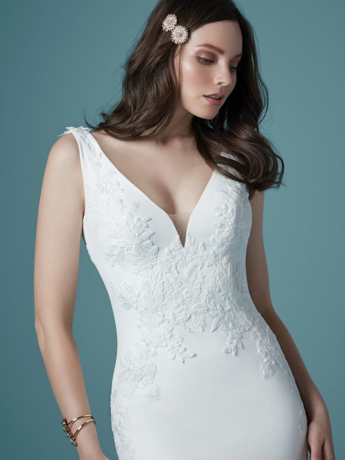 Model Wearing Slip Style Wedding Dress Called Bertina by Maggie Sottero