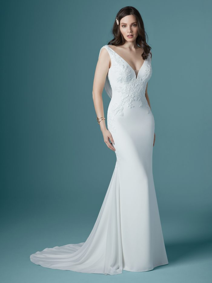 Model Wearing Crepe Slip Wedding Dress Called Bertina by Maggie Sottero