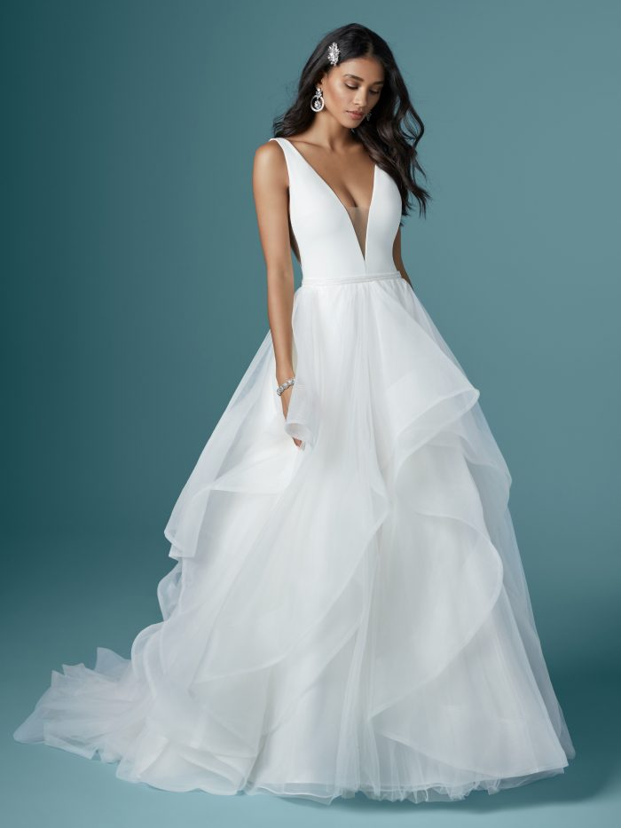 Model Wearing Organza Ball Gown Wedding Dress by Maggie Sottero