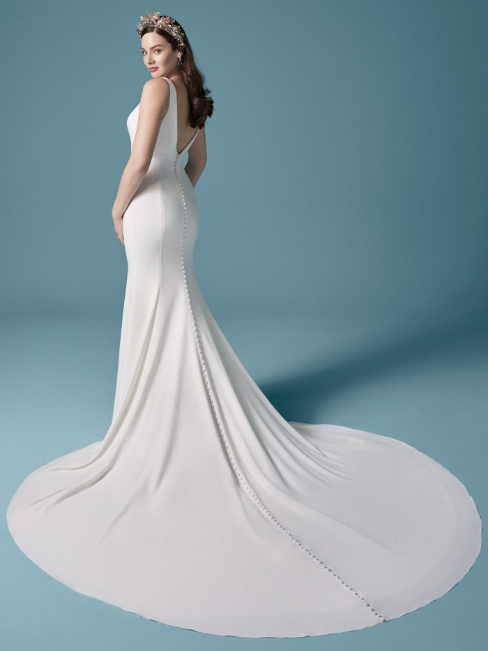 Model Wearing Slip Style Wedding Dress Called Fernanda by Maggie Sottero