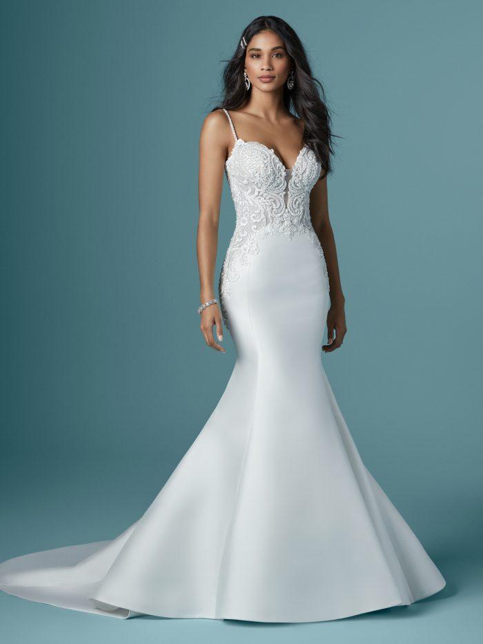 Model Wearing Mikado Mermaid Wedding Dress Called Josie by Maggie Sottero