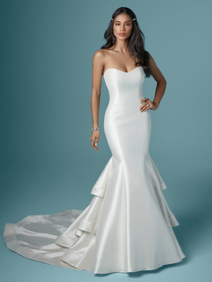Justine satin simple wedding dress by Maggie Sottero