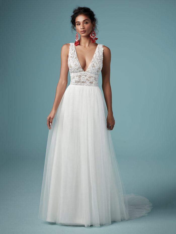 Model Wearing Boho Wedding Dress Called Maureen by Maggie Sottero