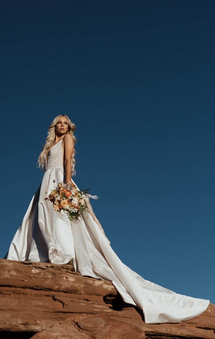 Real Bride Wearing Satin Ball Gown Wedding Dress Called Mylene by Sottero and Midgley