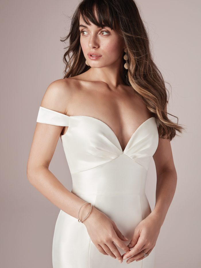 Model Wearing Satin Mermaid Wedding Dress Called Cindy by Maggie Sottero