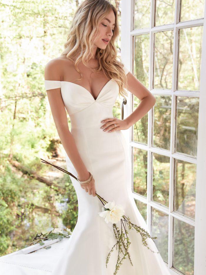 Bride Wearing Satin Maggie Sottero Wedding Dress Under $1000 Called Cindy