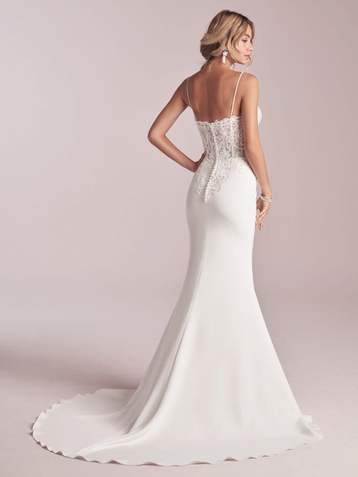 Model Wearing Crepe Slip Wedding Dress Called Darby by Rebecca Ingram