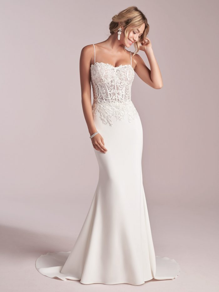 Model Wearing Slip Style Wedding Dress Called Darby by Rebecca Ingram