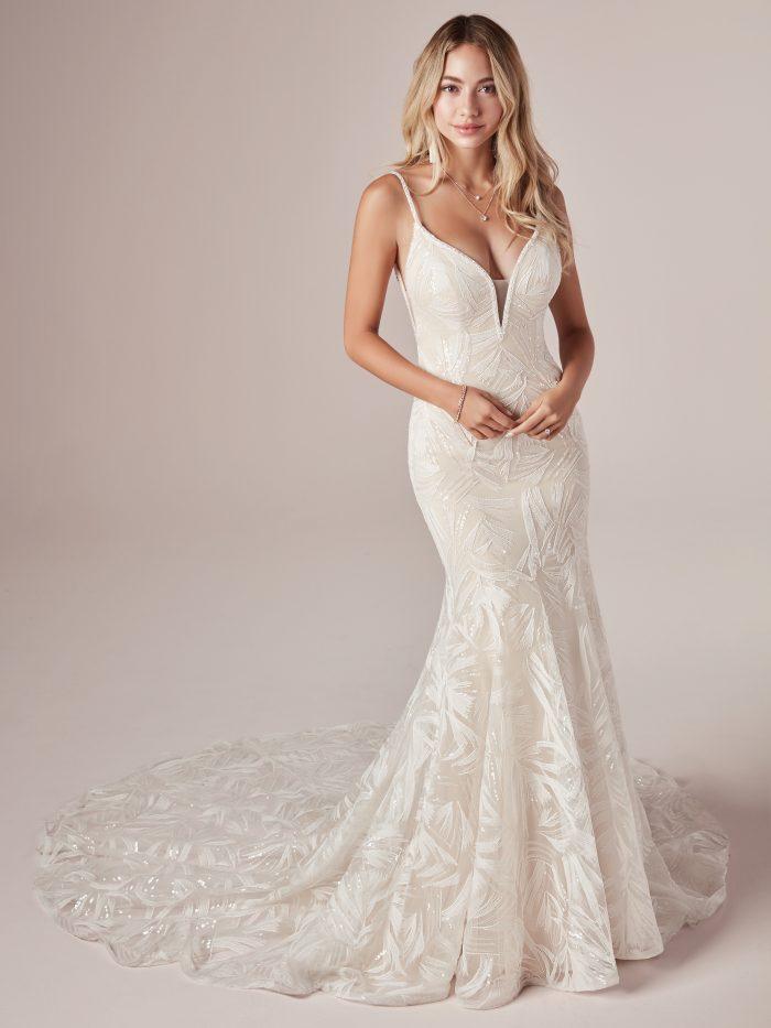 Model Wearing Sparkly Mermaid Wedding Dress Called Elsie by Rebecca Ingram