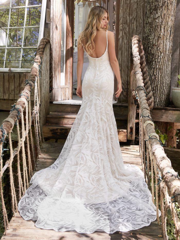 Model From Back Wearing Sparkly Mermaid Wedding Dress Called Elsie by Rebecca Ingram