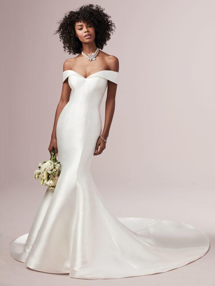 Model Wearing Mikado Mermaid Off-the-shoulder Wedding Gown Called Josie by Rebecca Ingram