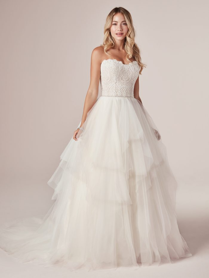 Front of Model Wearing Strapless Tulle Princess Wedding Gown Called Toni by Rebecca Ingram
