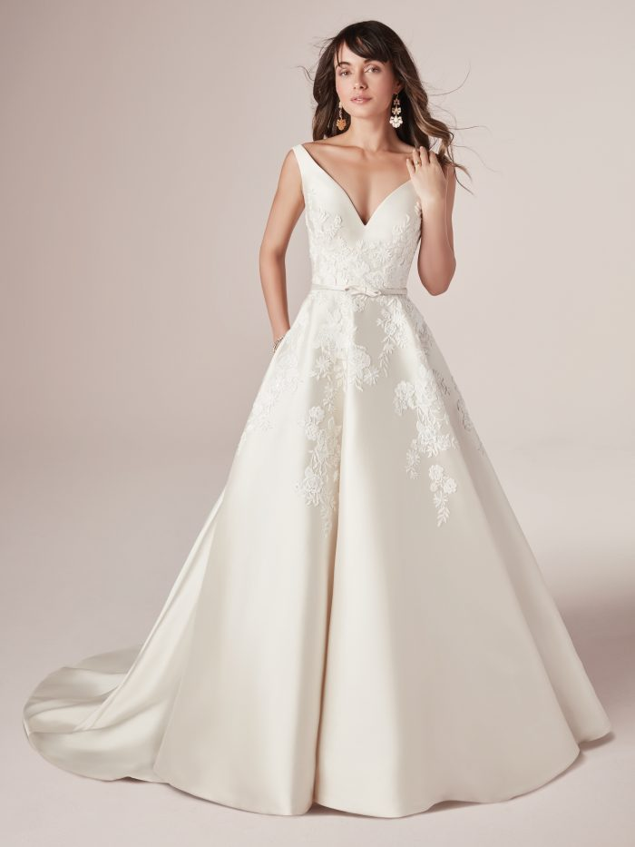 Valerie lace satin wedding dress by Rebecca Ingram