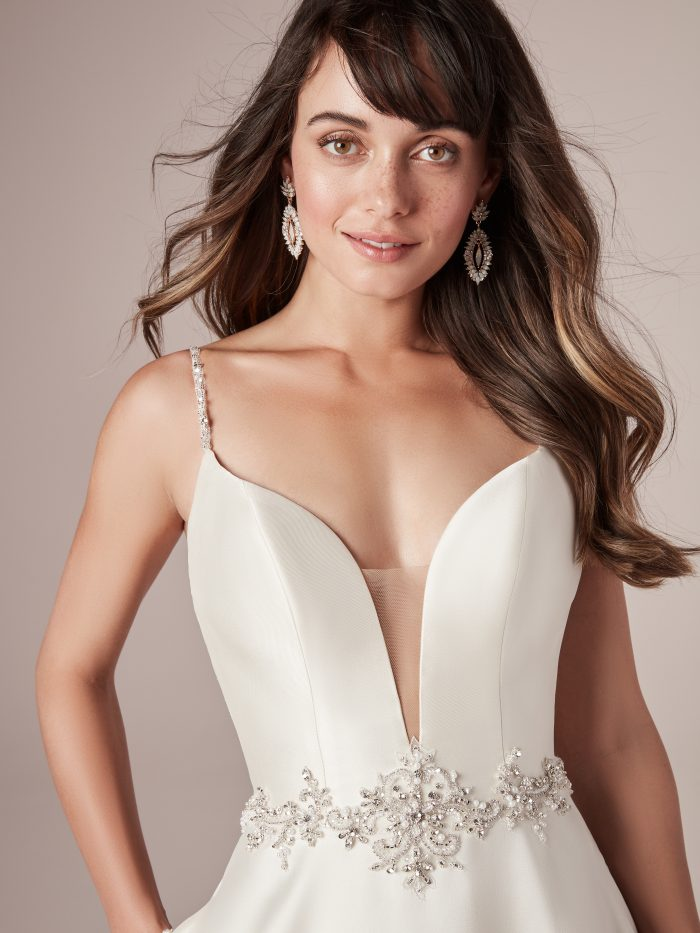 Yara Satin A-Line Wedding Dress by Rebecca Ingram