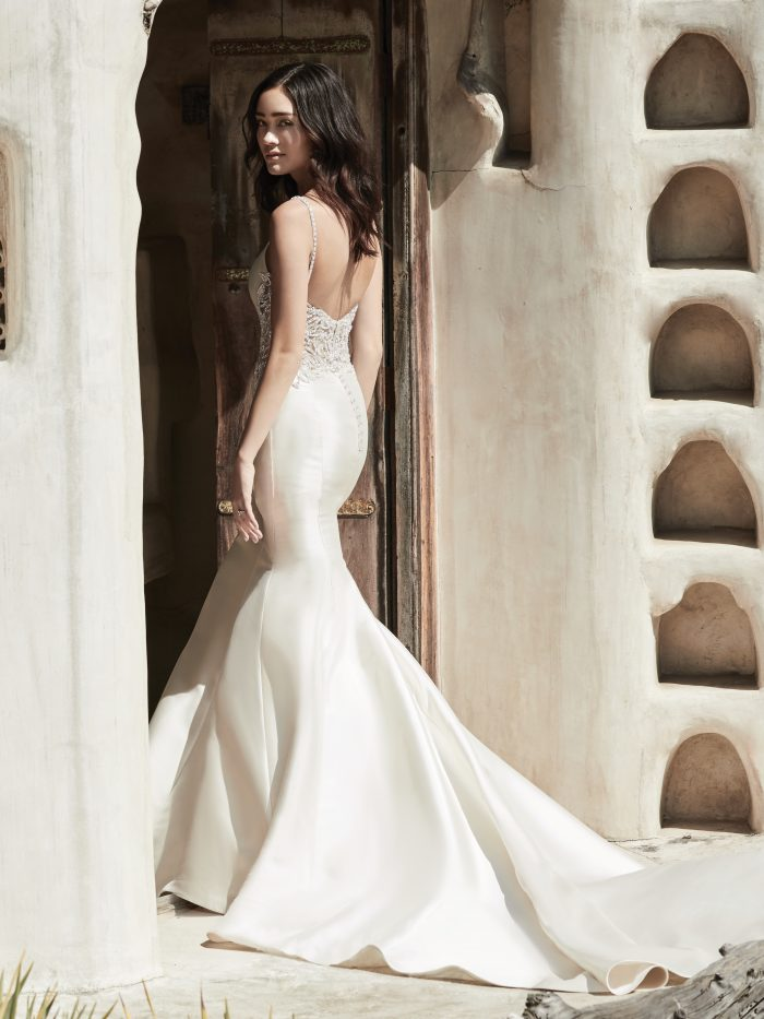 Model Wearing Satin Fit-and-Flare Wedding Dress Called Marquette by Sottero and Midgley